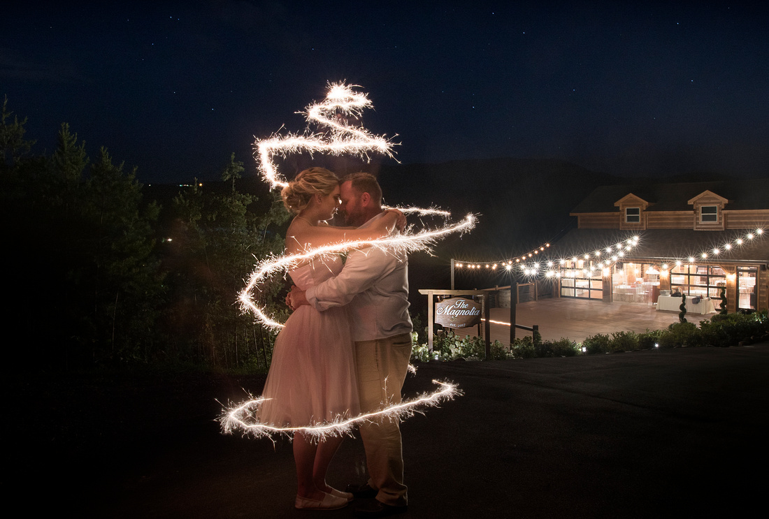 Wedding photograph with sparklers.
