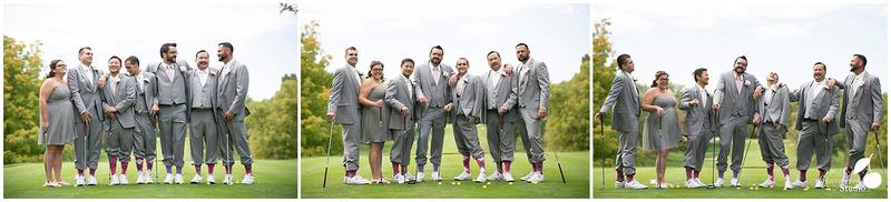 Groomsmen posing on golf Course