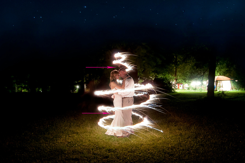 Couple smiling surrounded by sparkler