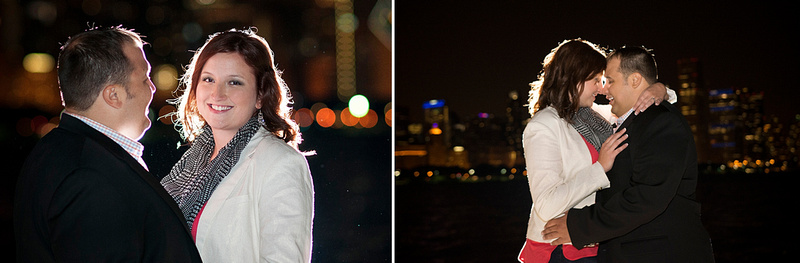 Chicago, Illinois night time engagement images.
