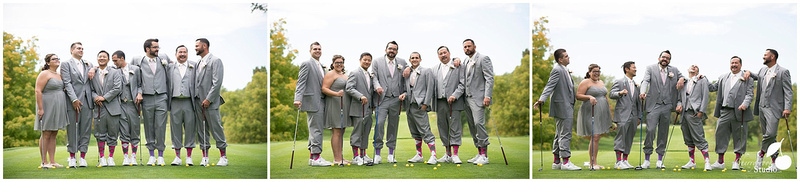 Groomsmen posing on golf Course